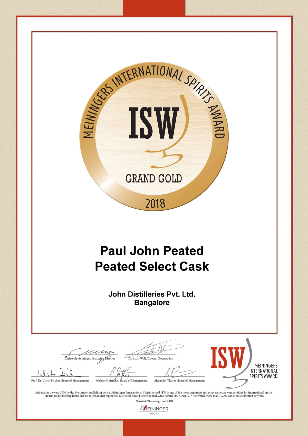 ISW Germany Whisky Award 2018